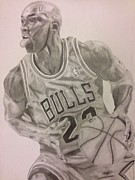 Nba Drawings Framed Prints - Michael Jordan Framed Print by Dwayne Williams