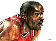 Bulls Mixed Media Framed Prints - Michael Jordan Early Days Framed Print by Michael  Pattison