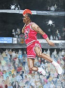 Basketball Paintings - Michael Jordan by Freda Nichols