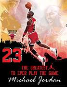 Michael Jordan Prints - Michael Jordan Greatest Ever Print by Israel Torres