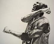 Athletes Drawings Framed Prints - Michael Jordan Framed Print by Jake Stapleton
