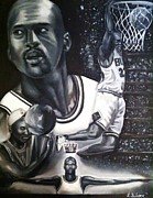 Michael Jordan Framed Prints - Michael Jordan  Framed Print by Larry Silver