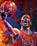 Basketball Painting Prints - Michael Jordan Layup Print by Maria Arango