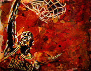 Basketball Painting Prints - Michael Jordan Print by Maria Arango