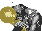 Gold Mixed Media Prints - Michael Jordan Print by Mike Maher