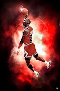 Grand Slam Digital Art Posters - Michael Jordan Poster by NIcholas Grunas Cassidy