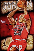 Chicago Bulls Photo Prints - Michael Jordan Oil Painting Print by Dan Troyer