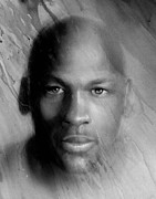 All-star Painting Prints - Michael Jordan Potrait Print by Angela  Villegas