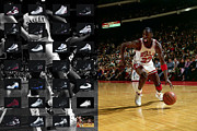 Offense Photo Framed Prints - Michael Jordan Shoes Framed Print by Joe Hamilton