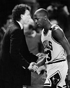 Michael Jordan Talks With Coach Print by Retro Images Archive