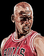 Michael Jordan Painting Framed Prints - Michael Jordan The Intimidator Framed Print by Israel Torres