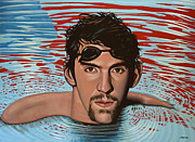 Basket Ball Painting Framed Prints - Michael Phelps Framed Print by Paul  Meijering