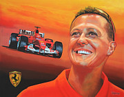 Soccer Painting Posters - Michael Schumacher 2 Poster by Paul  Meijering