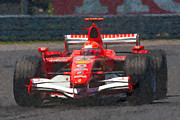 Impasto Oil Prints - Michael Schumacher Canadian Grand Prix I Print by Clarence Holmes