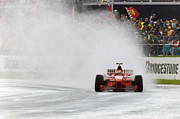 Michael Schumacher Photo Posters - Michael Schumacher Rainmaster Poster by Gary Doak