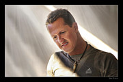 Schumacher Racing Photo Framed Prints - Michael Schumacher The Legend Framed Print by Blake Richards