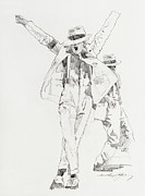 Celebrity Portraits Drawings Posters - Michael Smooth Criminal Poster by David Lloyd Glover