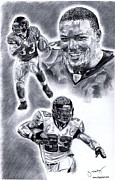 Pro Football Drawings Posters - Michael Turner Poster by Jonathan Tooley