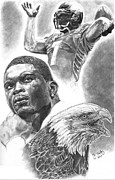 Michael Drawings Posters - Michael Vick Poster by Jonathan Tooley