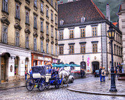 Horse And Buggy Framed Prints - Michaelerplatz. Vienna Framed Print by Juli Scalzi