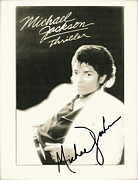 Autograph Mixed Media Framed Prints - Micheal Jackson Signed Thriller Poster Framed Print by Claudette Armstrong