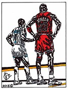 Sports Art Drawings Posters - Micheal Jordan 1 Poster by Jeremiah Colley