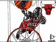 Chicago Bulls Drawings Drawings Framed Prints - Micheal Jordan 2 Framed Print by Jeremiah Colley