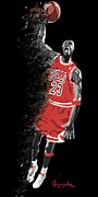 Chicago Bulls Framed Prints - Micheal Jordan Flight Framed Print by Kevin Kayitare