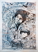 Paris Drawings Posters - Micheal King of Pop Jackson color Poster by Lance Graves