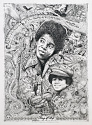 Paris Drawings Posters - Micheal King of Pop Jackson Poster by Lance Graves