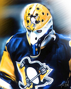 Goalie Digital Art Prints - Michel Dion Print by Mike Oulton