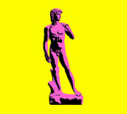 Renaissance Sculpture Prints - Michelangelos David - Punk style Print by Pixel Chimp