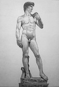 Michelangelo Drawings Posters - Michelangelos David Poster by Subhash Mathew