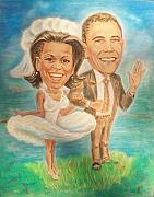 Obama Drawings Prints - Michelle and Barack Obama Print by Svetlana Tovkach