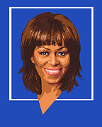 Politics Digital Art Prints - Michelle Print by Douglas Simonson
