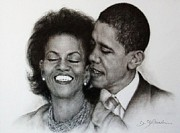 Indian Ink Framed Prints - Michelle et Barack OBAMA Framed Print by Guillaume Bruno