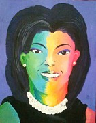 Obama Paintings - Michelle Obama color effect by Kendya Battle