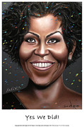 First Lady Digital Art Framed Prints - Michelle Obama Framed Print by Dedric Whittington