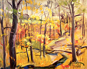 Fall Trees With Stream. Art - Michigan Autumn Woods by Art By Tolpo Collection