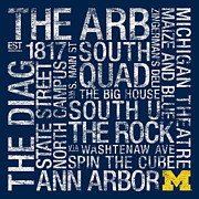 Rock Wall Posters - Michigan College Colors Subway Art Poster by Replay Photos