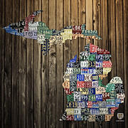 Vintage Map Mixed Media Posters - Michigan Counties State License Plate Map Poster by Design Turnpike