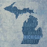 Lake Mixed Media Metal Prints - Michigan Great Lake State Word Art on Canvas Metal Print by Design Turnpike