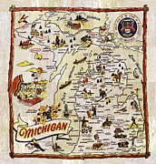 Antique Map Digital Art Posters - Michigan Map Poster by Michelle Calkins
