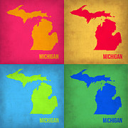 Michigan Digital Art Framed Prints - Michigan Pop Art Map 1 Framed Print by Irina  March