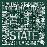 College Photo Prints - Michigan State College Colors Subway Art Print by Replay Photos