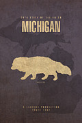 Michigan Framed Prints - Michigan State Facts Minimalist Movie Poster Art  Framed Print by Design Turnpike