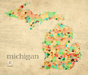 Old Map Mixed Media Prints - Michigan State Map Crystalized Counties on Worn Canvas by Design Turnpike Print by Design Turnpike
