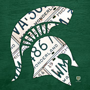 Basketball Sports Mixed Media Prints - Michigan State Spartans Sports Retro Logo License Plate Fan Art Print by Design Turnpike
