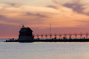 Breakwater Framed Prints - Michigan Sunset Framed Print by Adam Romanowicz