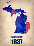 Modern Poster Metal Prints - Michigan Watercolor Map Metal Print by Irina  March